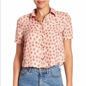 BLVD Short Sleeve Floral Print Blouse